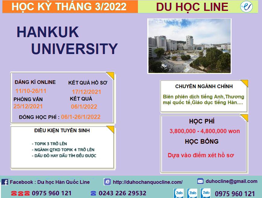 THÔNG TIN TUYỂN SINH CỬ NHÂN VÀ THẠC SĨ NĂM 2022-Trường Đại Học Hankuk