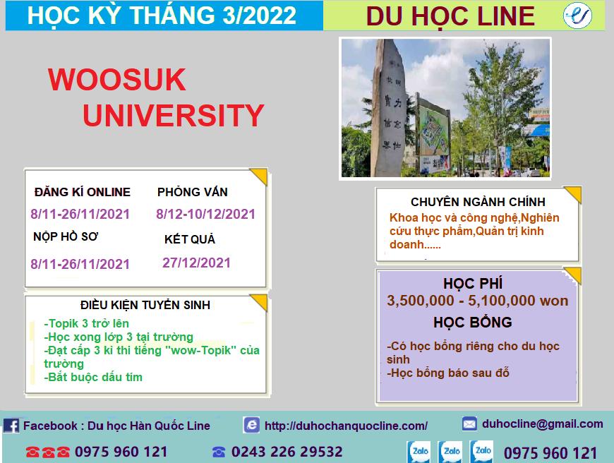 THÔNG TIN TUYỂN SINH CỬ NHÂN VÀ THẠC SĨ NĂM 2022-Trường Đại Học Woosuk