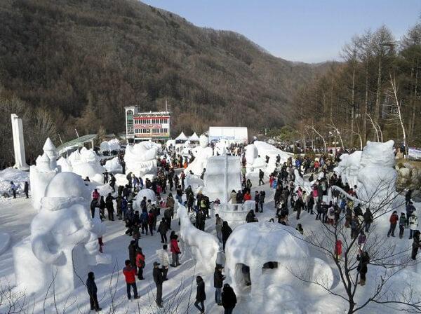 Kết quả hình ảnh cho Lễ hội núi tuyết Taebaeksan