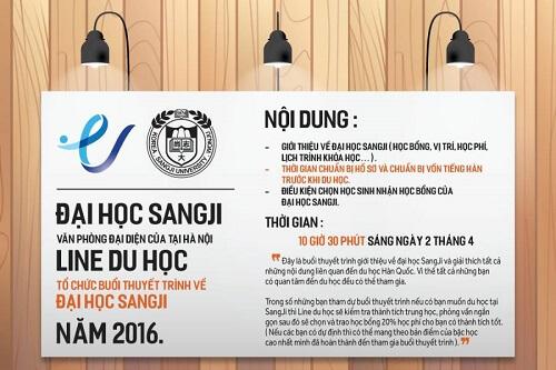 Hội thảo du học Hàn Quốc 2/4/2016 trường đại học Sangji