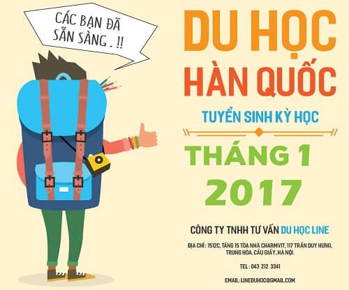 Trung tâm Hàn ngữ Line thông báo tuyển sinh học kì tháng 1/2017
