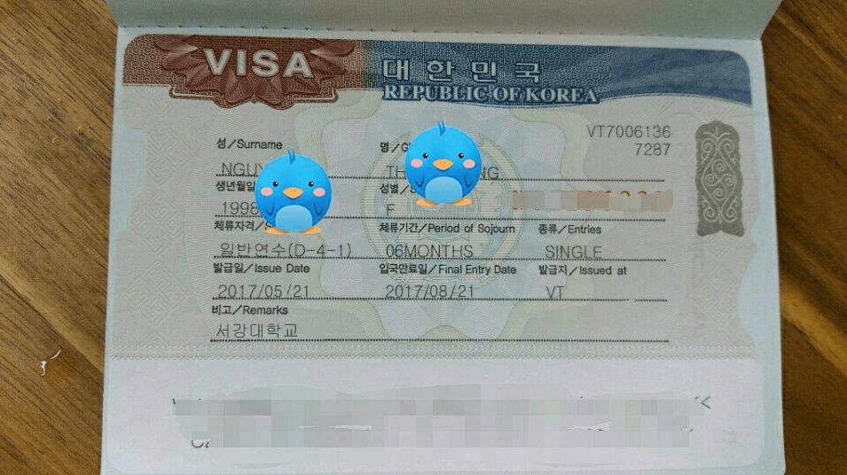 Tấm visa thẳng của bạn Nguyễn Thu Hằng